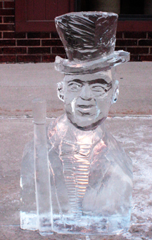 Top Hat Man ice sculpture